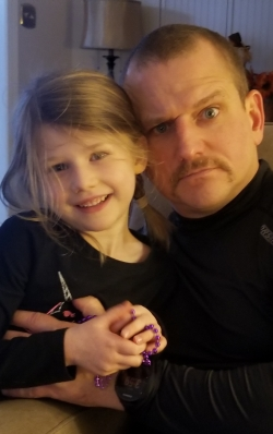 November 17. Kenzie like the stache (Lanie hates it!). Stache trimmed up higher off the chin. Much better.
